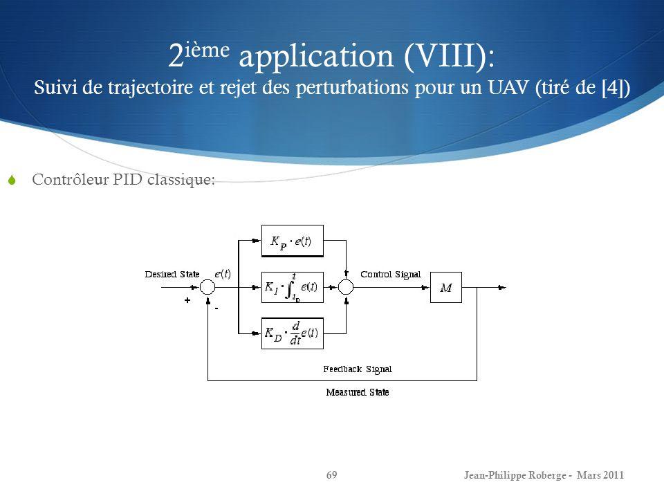 2ième application (VIII): Suivi de trajectoire et rejet des perturbations pour un UAV (tiré de [4])
